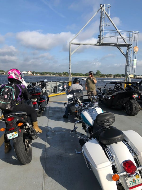 Some FBGz on their bikes of a ferry
