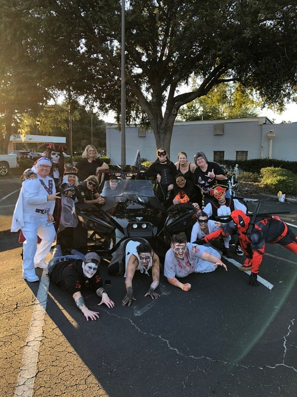 A group photo of FBGz members dressed up for Halloween