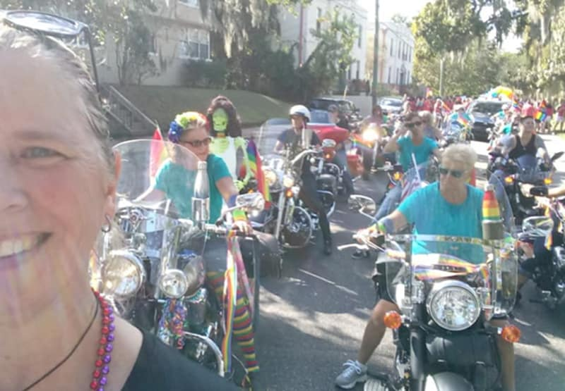 A group of FBGz members riding and dressed up for gay pride